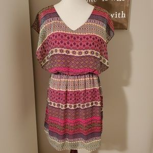 Francesca's Buttons Multi Colored Patterned Dress